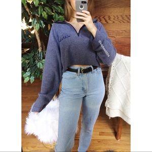 🌿 Vintage Canada Cozy Blue Cropped Half Zip 🌿
